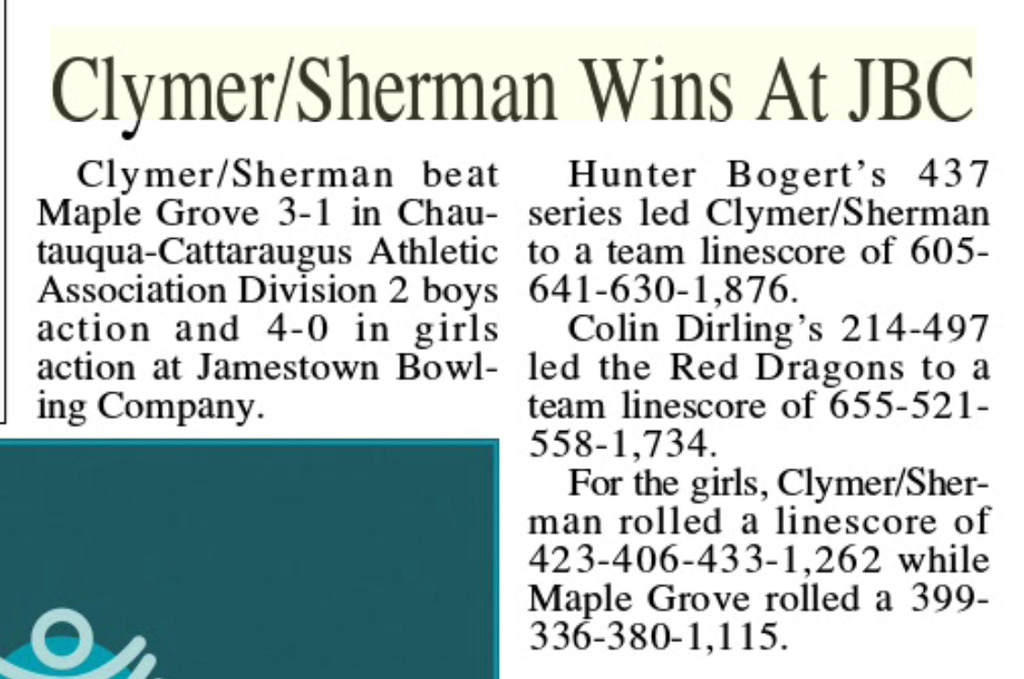 Way to go Bowling Team!