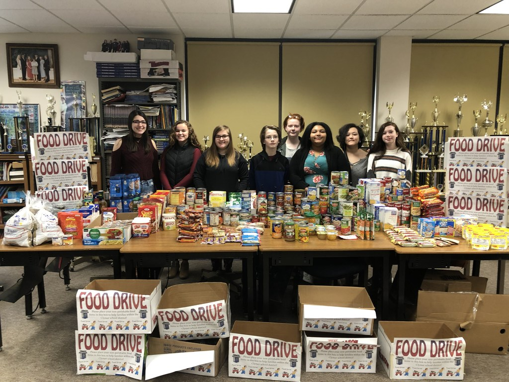 FBLA completed their food drive for the local food pantry today, collecting 712 items. Congratulations to Mrs. King's 3rd grade class for collecting 282 of them. Mr. Shrout's 6th grade homeroom came in 2nd place, collecting 159 items.  Thank you to all families who donated food items for this very special charity.